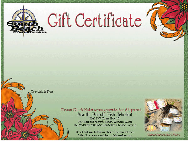 South Beach Fish Market gift certificate